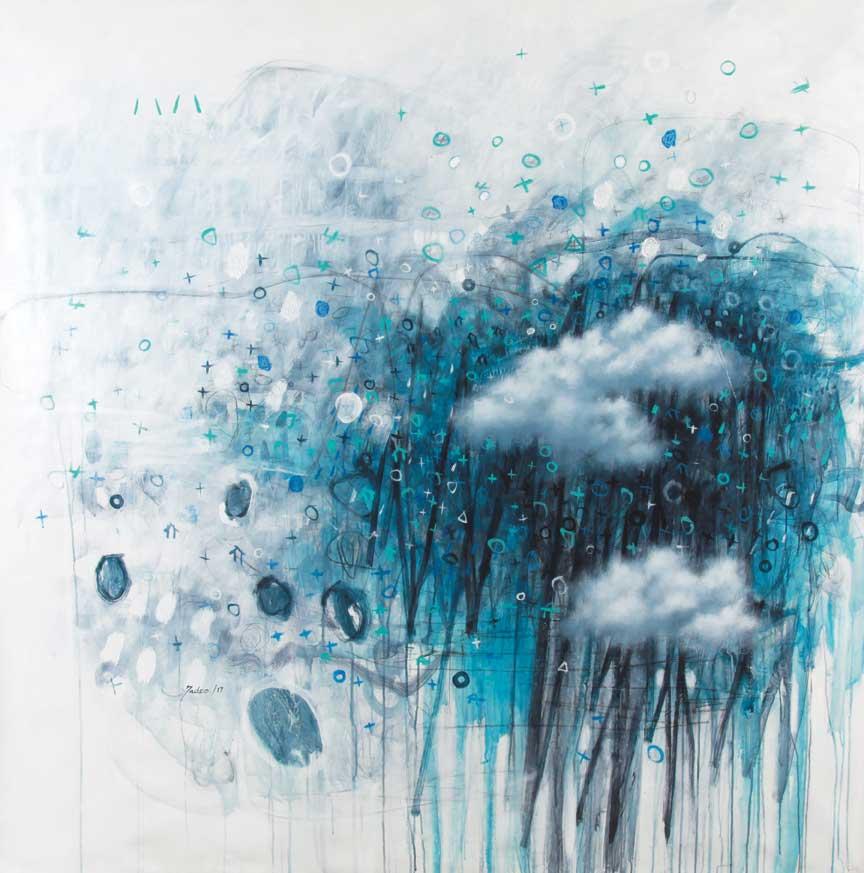 """Héctor Tadeo, Flood, acrylic on canvas, 67"""" x 67."""""""
