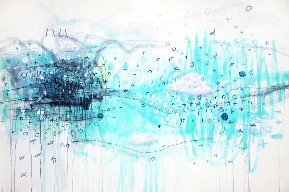 """Héctor Tadeo, Silence, acrylic on canvas, 52"""" x 77."""""""