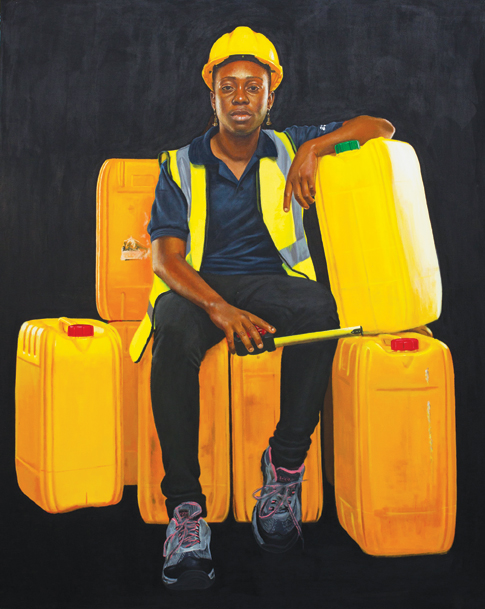 Jeremiah Quarshie, Obiribea, 2016, acrylic on canvas. Museum purchase, with funds provided by the Caroline Julier and James G. Richardson Acquisition Fund. Courtesy of the artist and Gallery 1957, Accra.