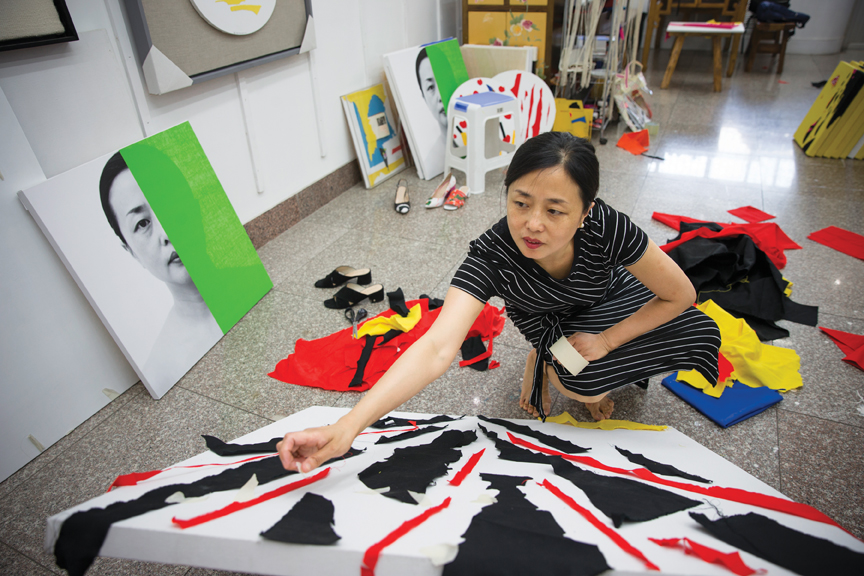 Chinese artist Zhang Hongmei at her studio. Photo: Zhang Jian. All images are courtesy of the artist and Diffusione Italia International Group Srl.