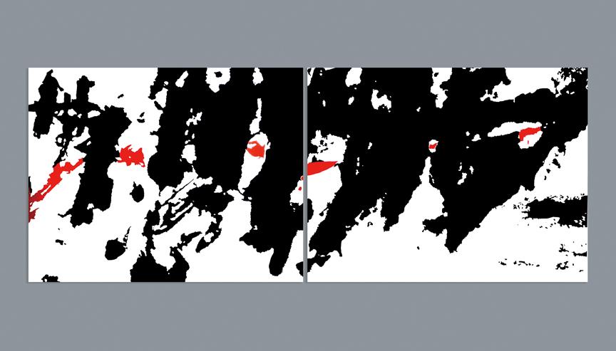 """Zhang Hongmei, Ink Dancing, cloth and acrylic, 2017, 133.85"""" x 82.67."""""""