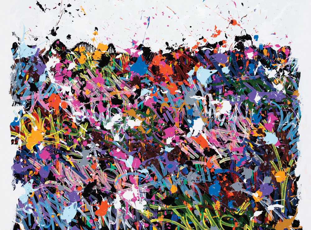 "JonOne, Loving Hearts, 2016, ink, acrylic and Posca on canvas, 55.5"" x 75."" All images are courtesy of the artist and Fabien Castanier Gallery, Miami."
