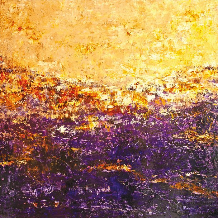 "William Braemer, Reminiscing Monet, mixed media on canvas, 72"" x 72."""