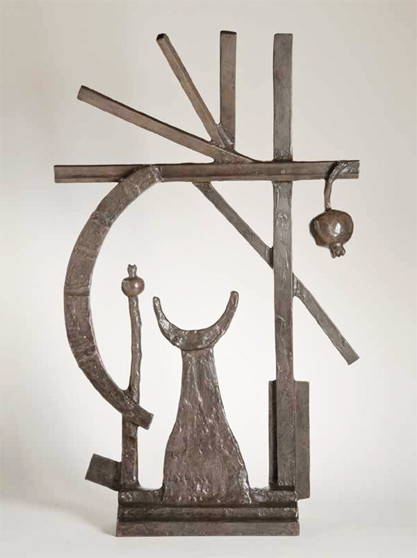 "Oded Halahmy, Sky Moon Pom, 1997, bronze cast, silver-brown patina, 35"" x 23"" x 8."" Courtesy of Orlando Museum of Art."