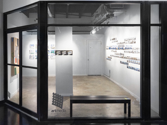 """""""Ride the rail,"""" installation view. Right wall: Patricia Van Dalen, Intercity, 2017, installation of 160 photographs, fine art archival print on paper Hahnemülle Barita satin 300 gsm, gator board, pins, total dimensions: 4 ' x 17 '191/8"""", individual dimensions: 3.5"""" x 5 .5."""""""