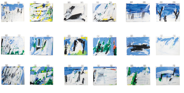 """Patricia Van Dalen, Les Masses, 2017, series of 18 paintings, Liquitex acrylic, Caran d' Ache color pencils and pastels, Fabriano paper 300 gsm, 100% cotton hot pressed, 9"""" x 12"""" (each)."""