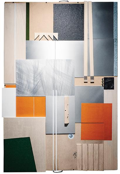 """Patricia Van Dalen, Setting, 2017, aluminum, wood, MDF, plastic, heat sinks, sand paper, foam, sheet, grass mat, 50"""" x 33."""""""