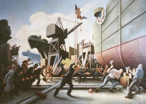 "Thomas Benton Hart, Cut the Line, 1944, 39 ¼"" x 53 ¾"". Courtesy of the Cummer Museum of Art & Gardens."