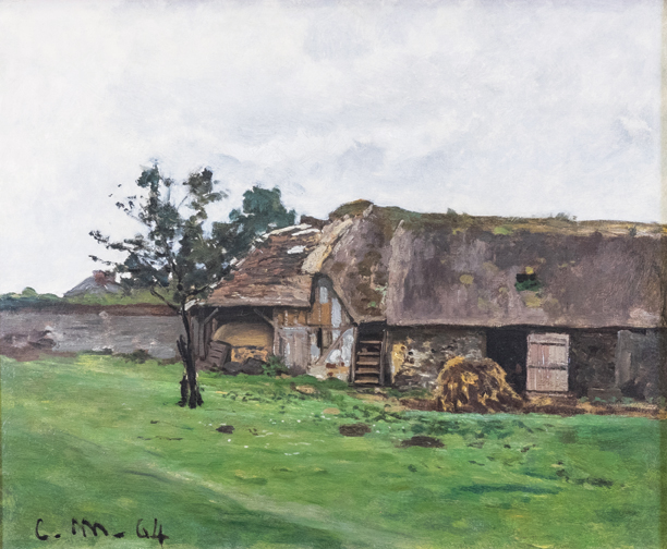 "Claude Monet, Ferme Pres de Honfleur, 1864, oil on canvas, 15 ½"" x 18 7/8."" Collection of Catherine and David A. Straz, Jr. Courtesy of the Orlando Museum of Art."