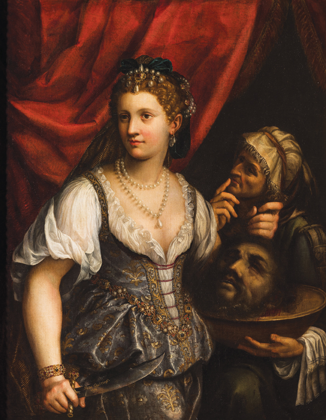 """Fede Galizia (b. 1578, Milan or Trent - d. 1630 Milan), Judith with the Head of Holofernes, 1596, oil on canvas, 56.41"""" × 46.5."""" Gift of Mr. and Mrs. Jacob Polak, 1969."""