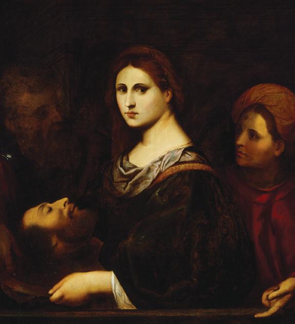 "Palma Vecchio, (Jacopo Negretti) (b. 1479/80, Serina, near Bergamo - d. 1528, Venice), Herodias with the Head of John the Baptist, ca. 1515-20, oil on wood, 36.7"" × 32.36."" Bequest of John Ringling, 1936."