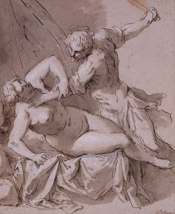 """Jacopo Palma the Younger (Palma Il Giovane) (b. ca. 1548, Venice - d. 1628, Venice), Rape of Lucretia, before 1595, pen and brown ink with brush and brown wash, heightened with white gouache, framing lines in black ink, 11"""" x 9."""" Museum purchase, 1971."""