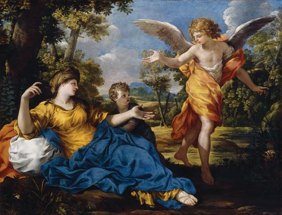 """Pietro da Cortona, (Pietro Berrettini) (b. 1596, Cortona - d. 1669, Rome), Hagar and the Angel, ca. 1643, oil on canvas, 45"""" × 59."""" Bequest of John Ringling, 1936."""