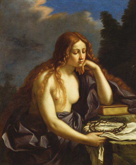 """Circle of Guercino (Giovanni Francesco Barbieri) (b. 1591, Cento 1591 - d. 1666, Bologna), Copy after Guercino's lost Penitent Magdalene, later 1600s, oil on canvas. 47"""" x 38."""" Bequest of John Ringling, 1936."""