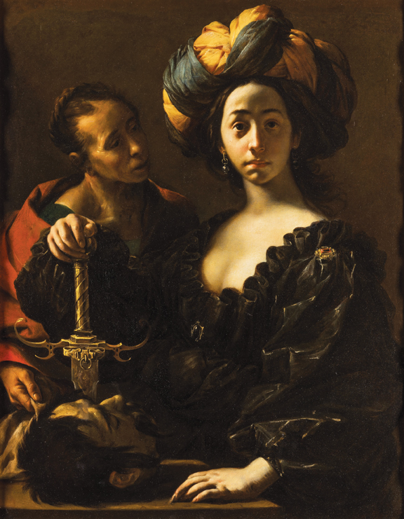 """Francesco Cairo, (b. 1607, Milan - d. 1665), Judith with the Head of Holofernes, ca. 1633–37, oil on canvas, 47"""" × 37.12."""" Museum Purchase, 1966."""