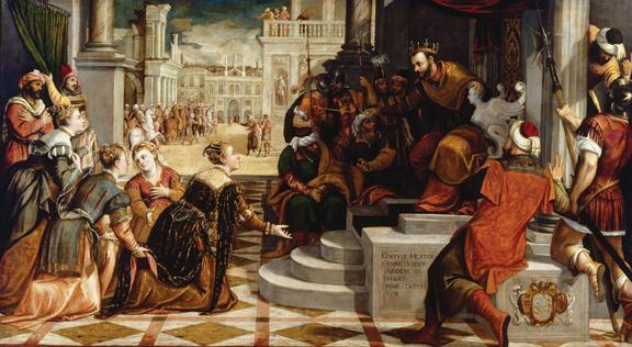 "Antonio Negretti (Antonio Palma) (b. 1515, Serina, near Bergamo - d. after 1574, Venice), Esther before Ahasuerus, 1574, oil on canvas, 67"" × 123."" Bequest of John Ringling, 1936."